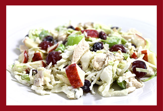 Easy and Skinny Blue Cheese and Chicken Slaw Salad