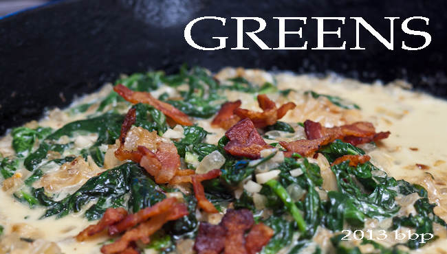 Greens with Browned Butter, Bacon, and Béchamel Sauce