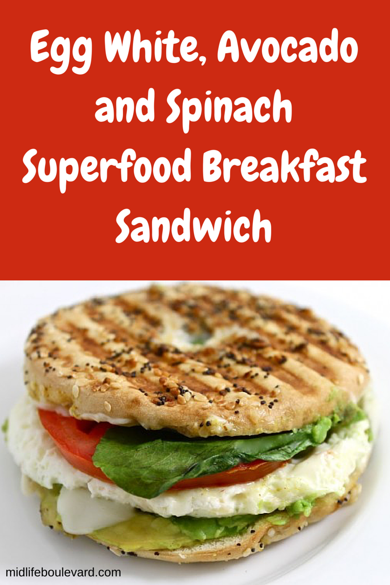 Egg White, Avocado and Spinach Superfood Breakfast Sandwich