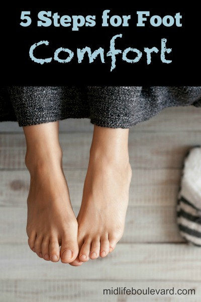 All of the holiday preparation plus winter boots can take a toll on our feet. I am learning new levels of foot discomfort with my part-time retail job. So, I would like to offer these suggestions for comfort...