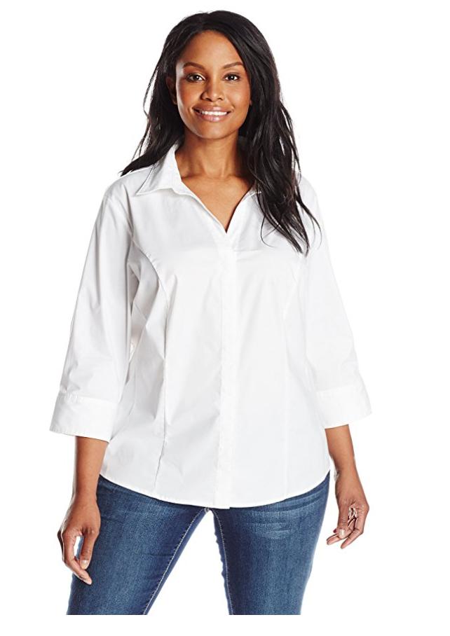 3/4 sleeve white blouse