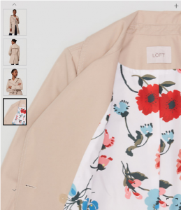 Loft trench coat with floral lining.