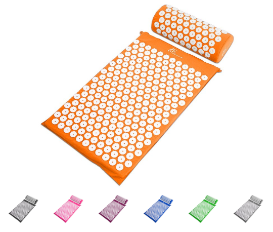 Acupressure mat to relieve headaches, menstrual cramps, and aid in exercise recovery.
