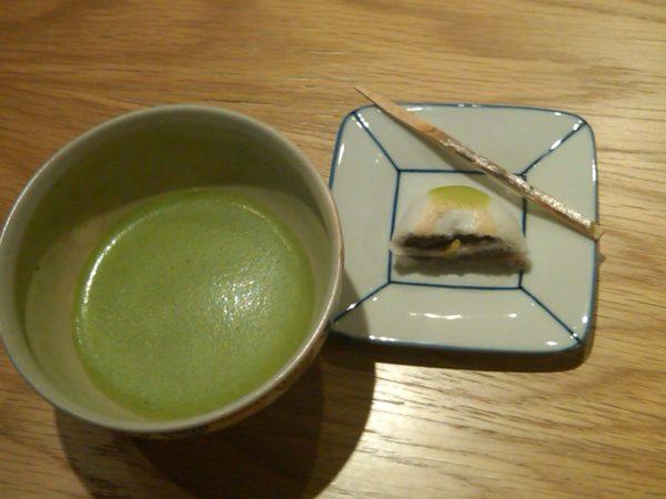 Food in Japan: ceremonial green tea with bean paste sweet