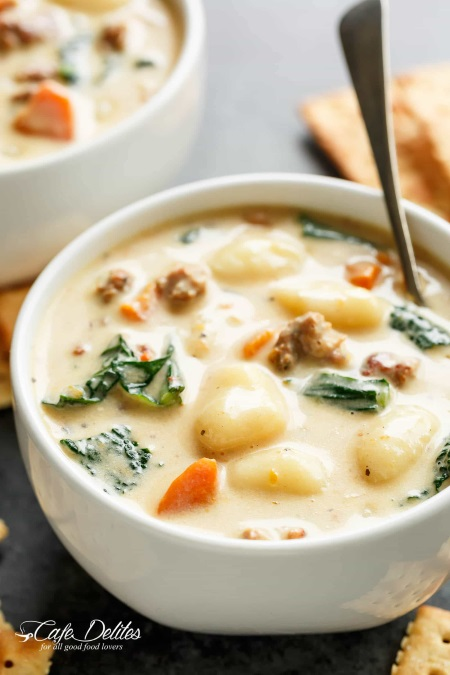 Bowl of creamy gnocchi soup