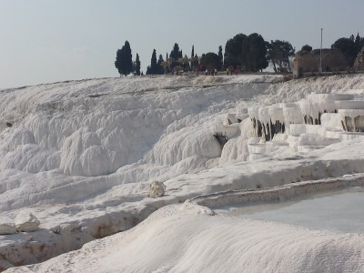 The travertine terraces at Pammukale.