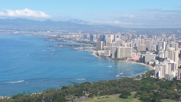 View from the top of Diamond Head looking down on Waikiki