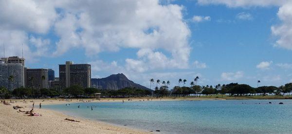 Diamond Head behind Waikiki Beach in Honolulu