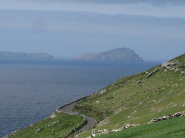 Two lane road on the Dingle Peninsula in southwestern Ireland.