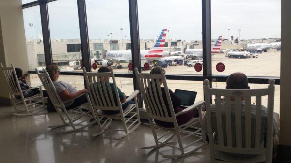 Rocking chairs at Philadelphia International Airport