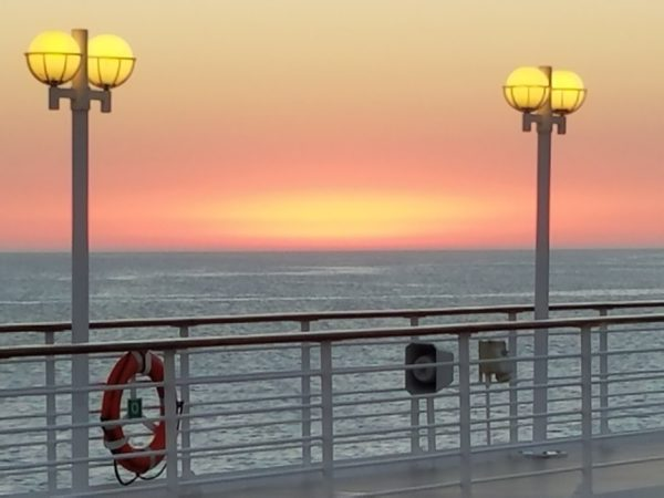 Sunset on the deck of the Azamara Quest