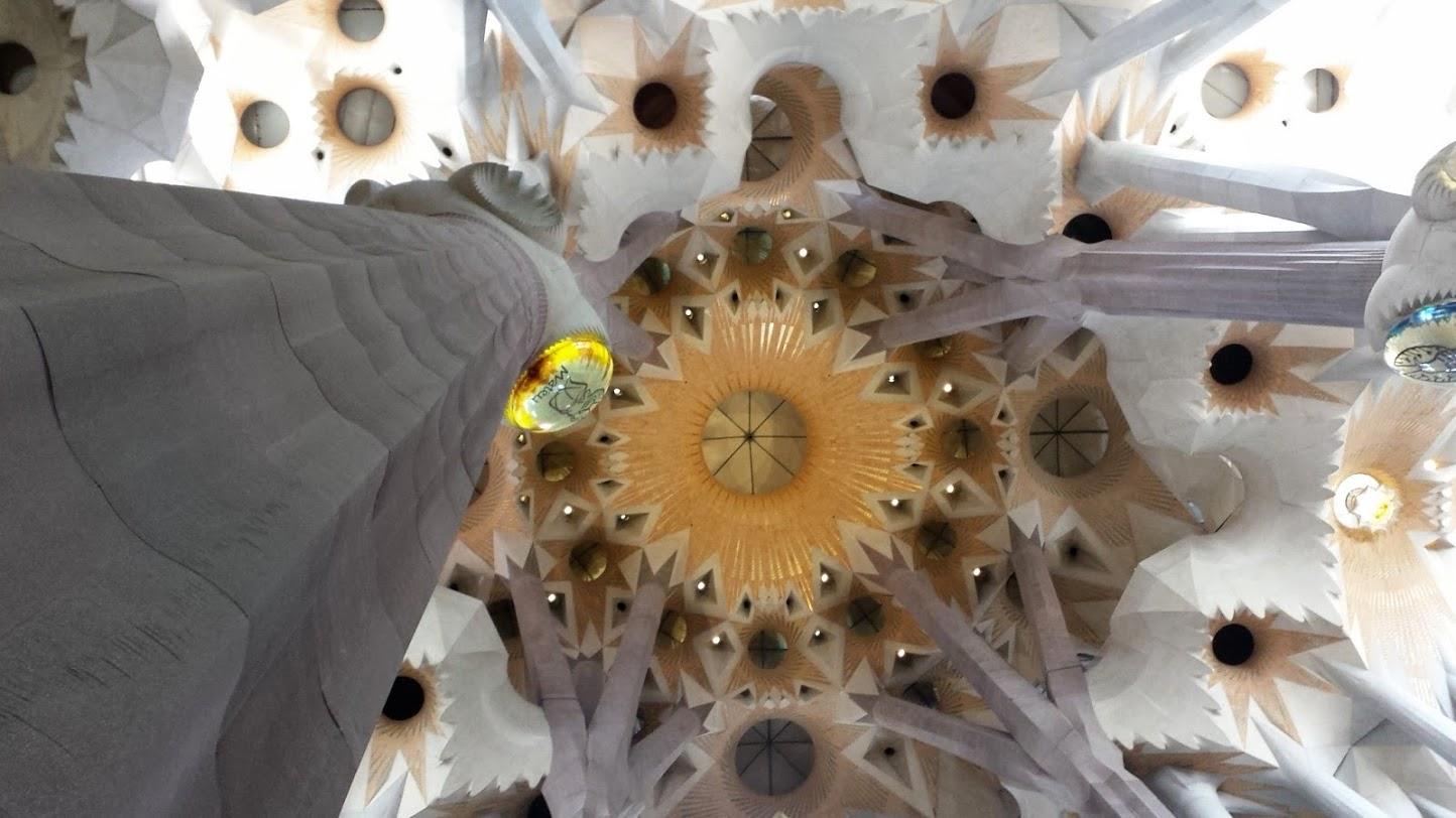 The interior of the Cathedral of the Sagrada Familia