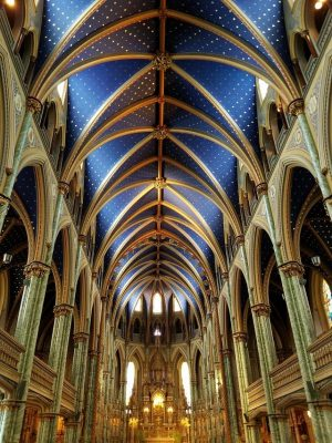 Interior of the Notre Dame Cathedral in Ottawa Canada