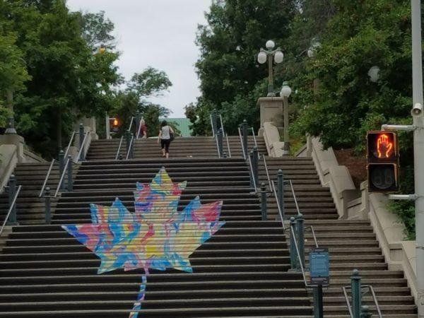 Canadian maple leaf mural on Ottawa stars