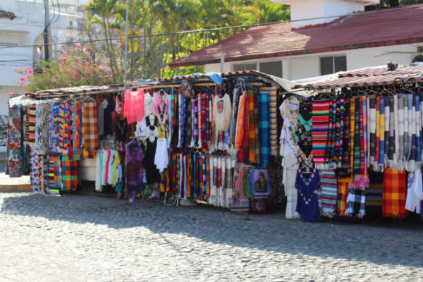 Street stalls in a Puerto Vallarta market area.