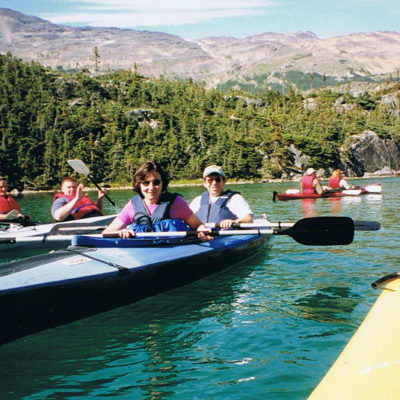Kayaking Whitehorse, BC on our Multigenerational Alaska cruise
