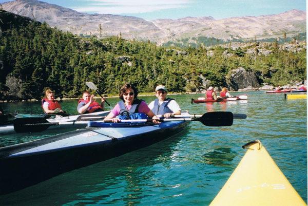 Kayaking Whitehorse, BC on our Multigenerational Alaska cruise