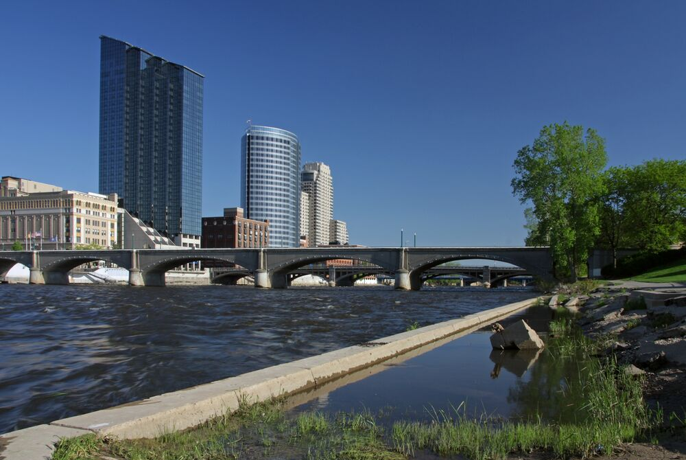Grand Rapids Michigan riverfront area